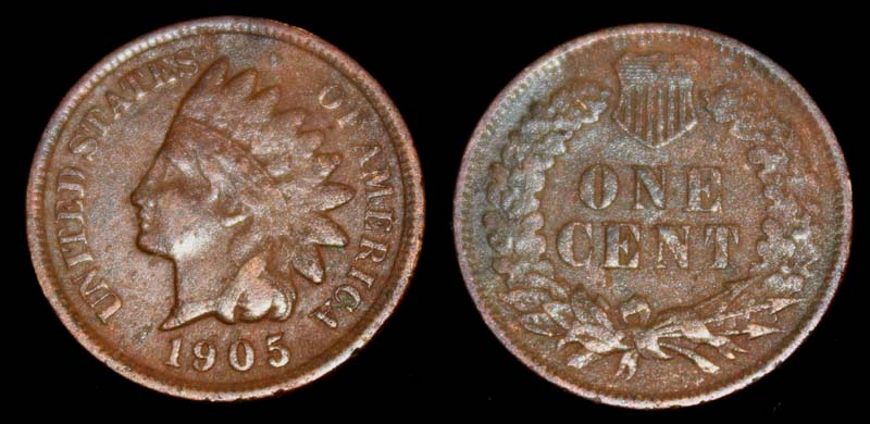 US Indian Head Penny 1905